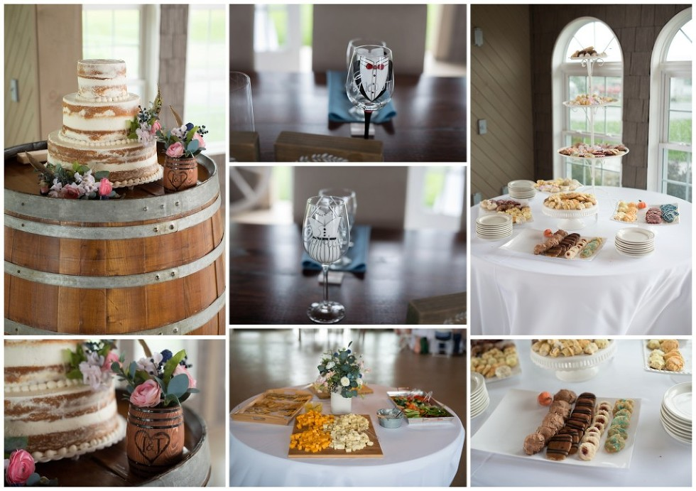 reception detail wine glasses cake food wine barrel