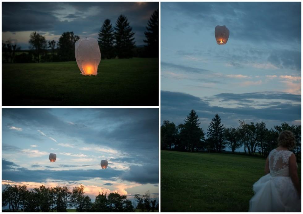 releasing lanterns wedding